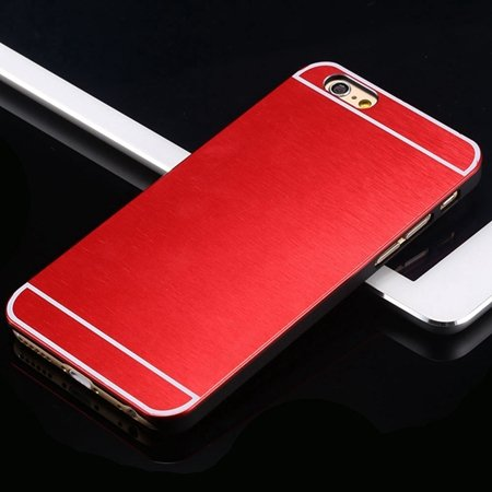 Hot Luxury Brand Brush Aluminum Metal Case For Iphon 32226437912-3-Red