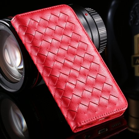 For Iphone6 Plus Leather Case Retro Luxury Handmade Waving Leather 32265433686-3-Red