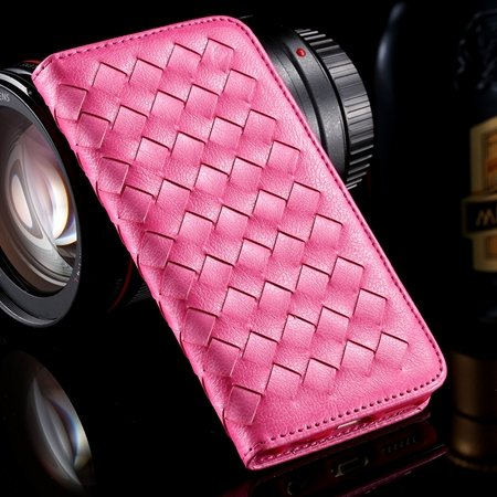 For Iphone6 Plus Leather Case Retro Luxury Handmade Waving Leather 32265433686-4-Hot Pink