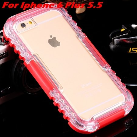 For Iphone 6 Plus Waterproof Case Hot Hard Pc + Soft Silicone Hybi 32276690163-10-Red For I6 Plus