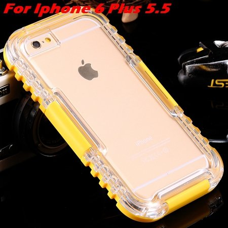 For Iphone 6 Plus Waterproof Case Hot Hard Pc + Soft Silicone Hybi 32276690163-11-Yellow For I6 Plus