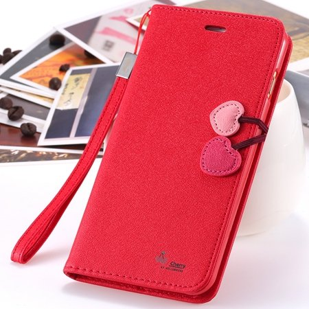 New Arrival Cherry Luxury Leather Case For Iphone 6 Plus Flip Stan 2054471028-2-Red