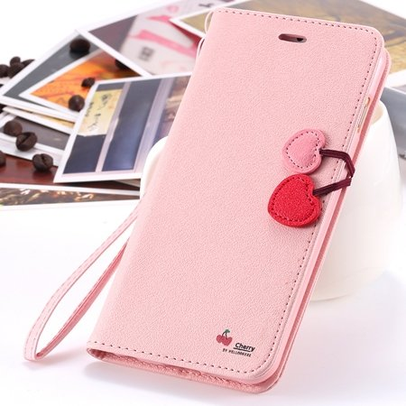 New Arrival Cherry Luxury Leather Case For Iphone 6 Plus Flip Stan 2054471028-5-Pink
