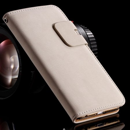 Retro Luxury Crad Slot Stand Wallet Flip Leather Case For Iphone 6 32237833397-2-White