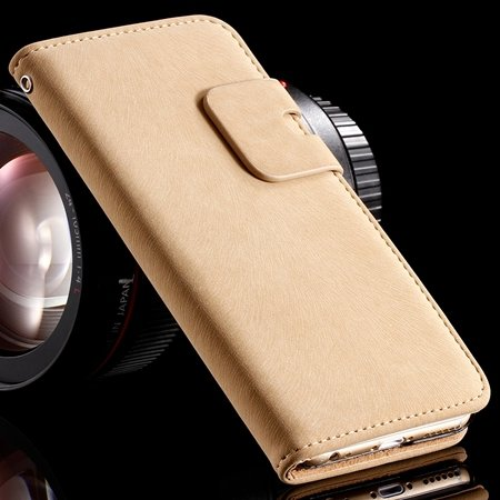 Retro Luxury Crad Slot Stand Wallet Flip Leather Case For Iphone 6 32237833397-4-Beige