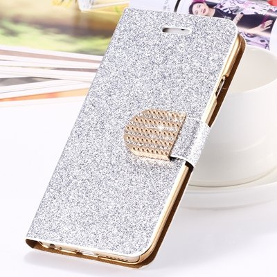 2015 New Arrival Luxury Shiny Gold Diamond Leather Case For Iphone 32267710327-3-Sliver