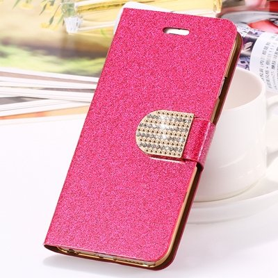 2015 New Arrival Luxury Shiny Gold Diamond Leather Case For Iphone 32267710327-5-Hot Pink