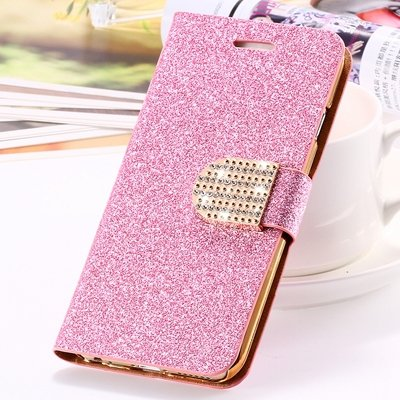 2015 New Arrival Luxury Shiny Gold Diamond Leather Case For Iphone 32267710327-6-Pink