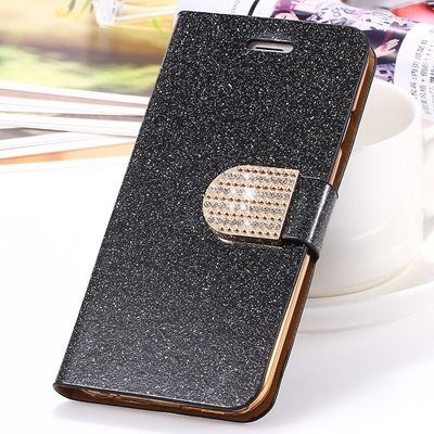 2015 New Arrival Luxury Shiny Gold Diamond Leather Case For Iphone 32267710327-7-Black