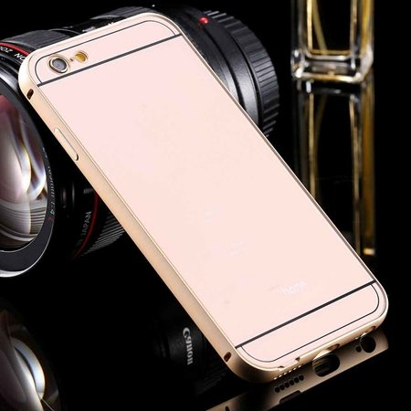 New Arrival Gold Metal Frame + Acrylic Hard Back Hybrid Case For I 32290073692-3-Gold
