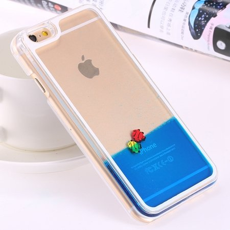 For Iphone 6 5.5 Clear Case Cute Funny Liquid Fish Hard Back Case  32279336434-5-Blue Fish