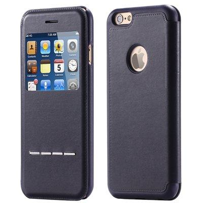 Luxury Front Window Smart Pu Leather Case For Iphone 6 Plus Flip F 32266078587-1-Black