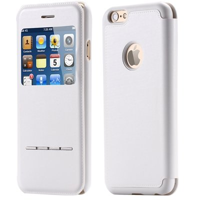 Luxury Front Window Smart Pu Leather Case For Iphone 6 Plus Flip F 32266078587-2-White
