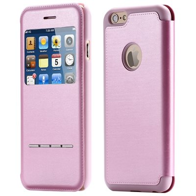 Luxury Front Window Smart Pu Leather Case For Iphone 6 Plus Flip F 32266078587-3-Pink