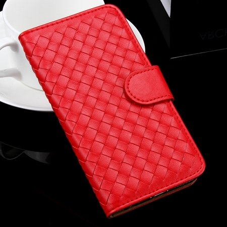 For Iphone 6 Plus Wallet Case Lovely Cute Pink Weave Flip Pu Leath 32271386653-1-Red