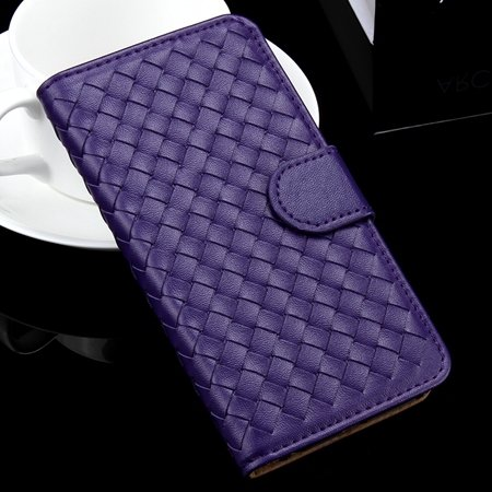 For Iphone 6 Plus Wallet Case Lovely Cute Pink Weave Flip Pu Leath 32271386653-4-Purple