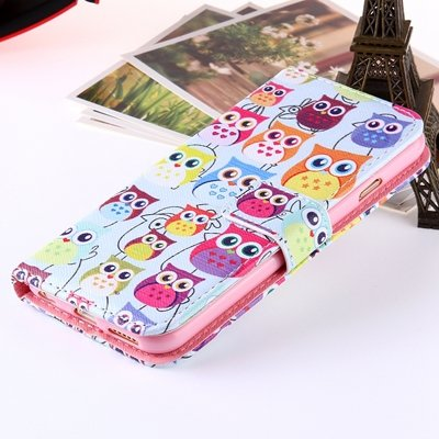 Girl'S Cute Pink Leather Case For Iphone 6 Plus Flip Cases Stand C 32254589707-2-Many Owls