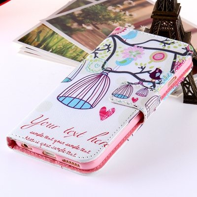 Girl'S Cute Pink Leather Case For Iphone 6 Plus Flip Cases Stand C 32254589707-4-Brid Cage