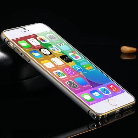 1Pcs/Lot Newest Double Color Metal Phone Cases For Iphone 6 Plus 5 32213408945-6-Gold and Navy Blue
