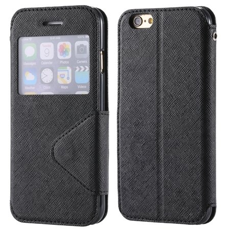New Arrival Pu Leather Case View Window Flip Stand Wallet For Ipho 32255188926-2-Black