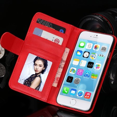2014 Hot Retro Photo Frame Flip Pu Leather Case For Iphone 6 Plus  32213753290-4-Red