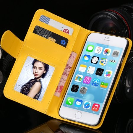 2014 Hot Retro Photo Frame Flip Pu Leather Case For Iphone 6 Plus  32213753290-6-Yellow