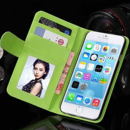 2014 Hot Retro Photo Frame Flip Pu Leather Case For Iphone 6 Plus  32213753290-7-Green