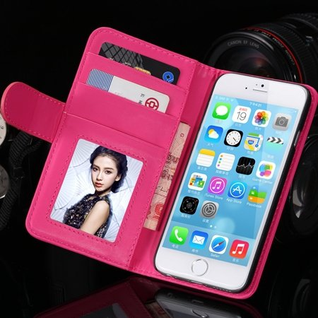 2014 Hot Retro Photo Frame Flip Pu Leather Case For Iphone 6 Plus  32213753290-9-Hot Pink