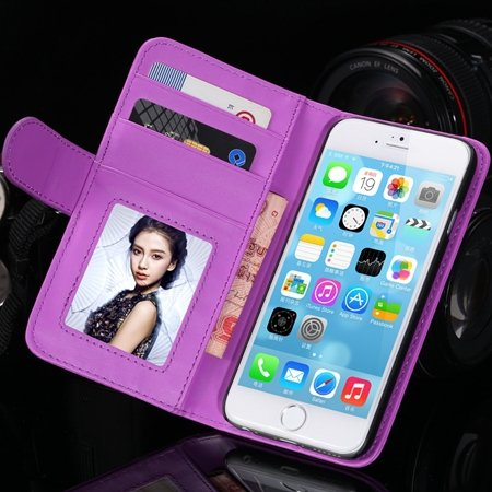 2014 Hot Retro Photo Frame Flip Pu Leather Case For Iphone 6 Plus  32213753290-10-Purple