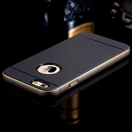 Gold Luxury Metal + Tpu Hybrid Case For Iphone 6 Plus 5.5Inch Cell 32271430212-3-Gray