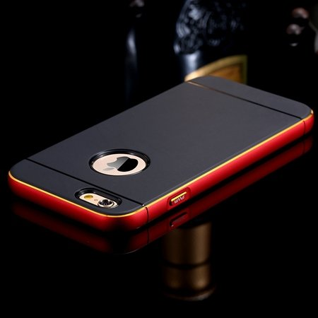 Gold Luxury Metal + Tpu Hybrid Case For Iphone 6 Plus 5.5Inch Cell 32271430212-5-Red