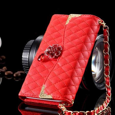 For Iphone 6 Plus Wallet Case Retro Luxury Shiny Gold Diamond Grid 32267999985-3-Red
