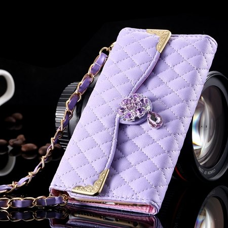 For Iphone 6 Plus Wallet Case Retro Luxury Shiny Gold Diamond Grid 32267999985-5-Purple