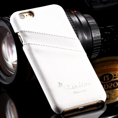 For Iphone 6 Plus Hard Back Case Luxury Lychee Genuine Leather Cas 32270451064-2-White