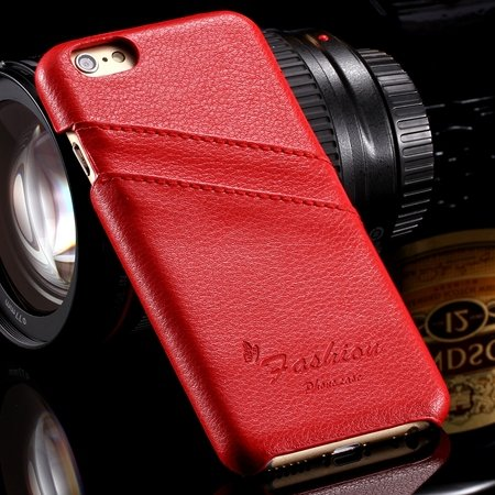 For Iphone 6 Plus Hard Back Case Luxury Lychee Genuine Leather Cas 32270451064-3-Red