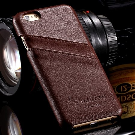 For Iphone 6 Plus Hard Back Case Luxury Lychee Genuine Leather Cas 32270451064-5-Brown