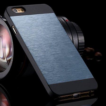 """Luxury Retro Aluminum Bursh Metal Case For Iphone 6 Plus 5.5"""""""" Cell 32270355739-2-Navy Blue"""