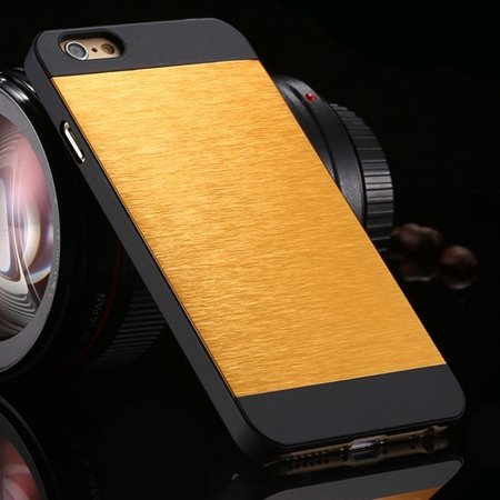 """Luxury Retro Aluminum Bursh Metal Case For Iphone 6 Plus 5.5"""""""" Cell 32270355739-6-Yellow"""