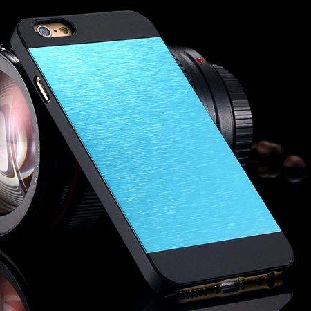 """Luxury Retro Aluminum Bursh Metal Case For Iphone 6 Plus 5.5"""""""" Cell 32270355739-10-Sky Blue"""