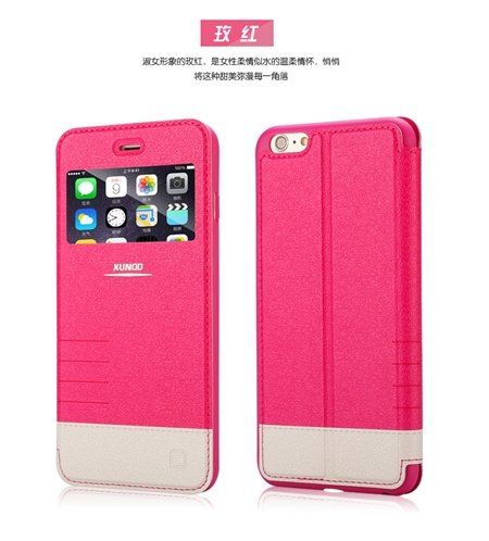 Luxury Open Window View High Quality Pu Leather Case For Iphone 6  32224569562-2-Hot Pink