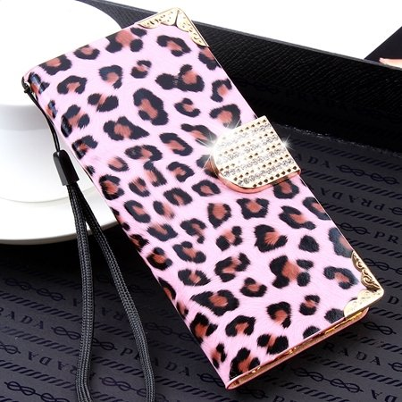 For Iphone 6 Plus Diamond Case Luxury Shinny Leopard Pu Leather Ca 32271763316-2-Pink
