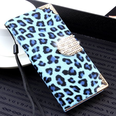 For Iphone 6 Plus Diamond Case Luxury Shinny Leopard Pu Leather Ca 32271763316-3-Sky Blue