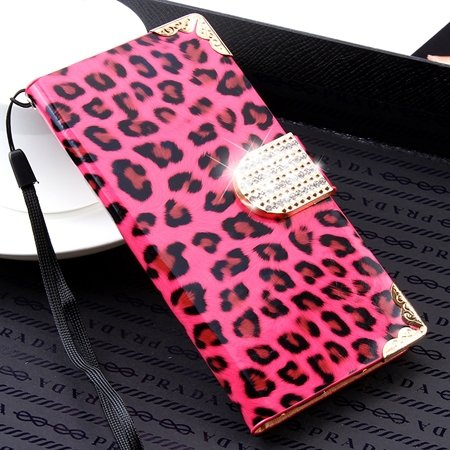 For Iphone 6 Plus Diamond Case Luxury Shinny Leopard Pu Leather Ca 32271763316-5-Hot Pink