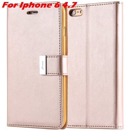 Luxury Wallet Flip Leather Case For Iphone 6 /Iphone 6 Plus Stand  32279124341-3-Gold For Iphone 6