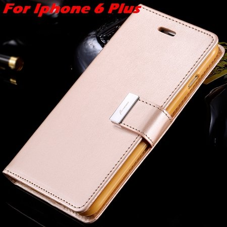 Luxury Wallet Flip Leather Case For Iphone 6 /Iphone 6 Plus Stand  32279124341-12-Gold For I6 Plus