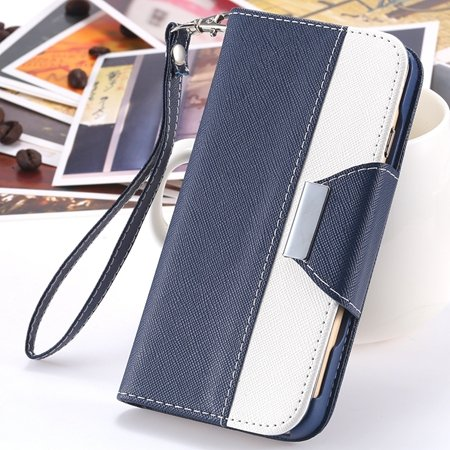 """2014 Hot Double Color Flip Pu Leather Case For Iphone 6 Plus 5.5""""""""  2054281808-4-Dark Blue  and Whit"""