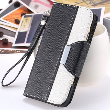 """2014 Hot Double Color Flip Pu Leather Case For Iphone 6 Plus 5.5""""""""  2054281808-5-Black and White"""