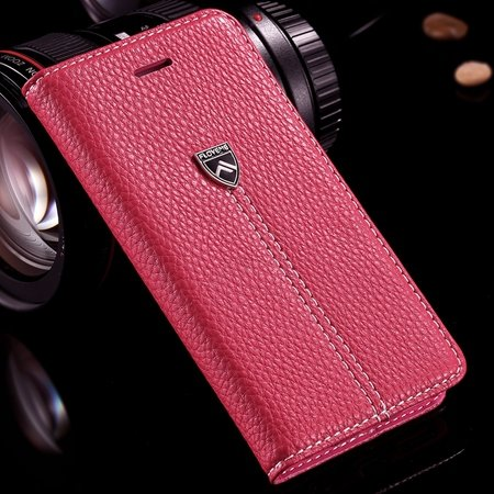Luxury Business Top Quality Flip Genuine Leather Cover Case For Ap 32271242622-3-Hot Pink