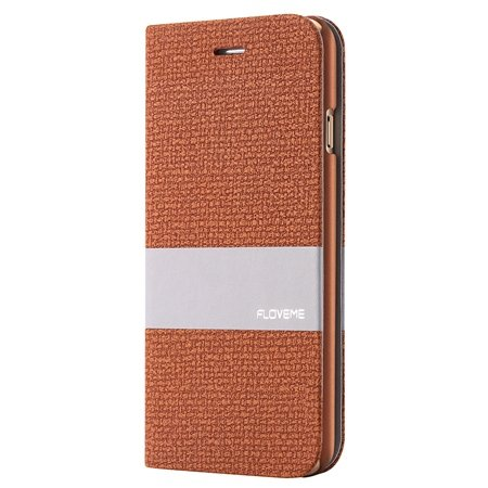 For Iphone 6 5.5 Wallet Case Linen Soft Feeling Pu Leather Case Fo 32274916315-2-Brown