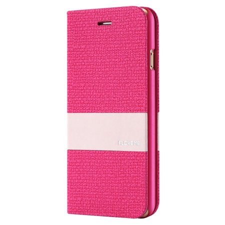 For Iphone 6 5.5 Wallet Case Linen Soft Feeling Pu Leather Case Fo 32274916315-3-Hot Pink